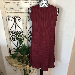 Eileen Fisher red and black midi dress